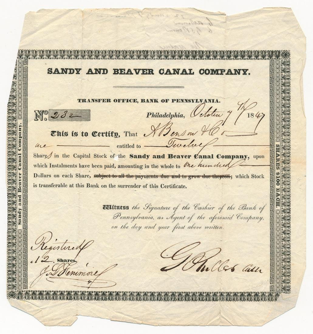 (STOCK CERTIFICATE) SANDY AND BEAVER CANAL COMPANY