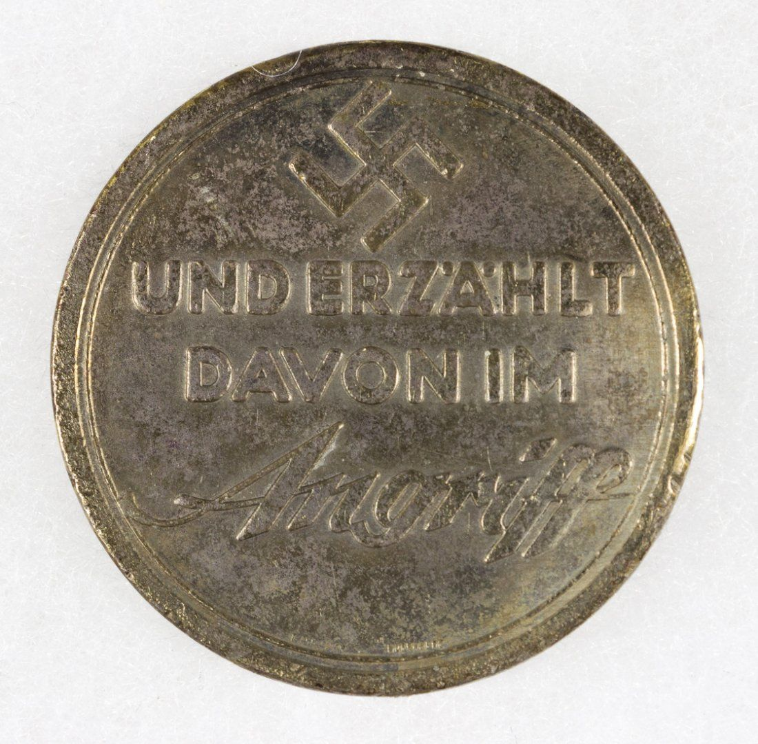 """1934 ANGRIFF """"A NAZI TRAVELS TO PALESTINE"""" MEDAL"""