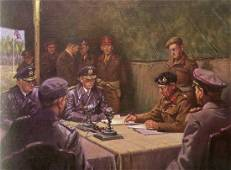 A LARGE COLOR PRINT OF THE GERMAN SURRENDER AT LUNEBURG