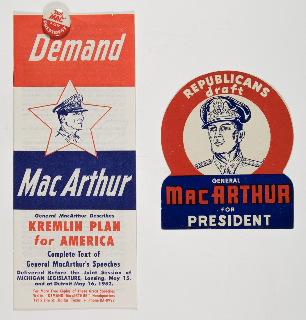 """MACARTHUR FOR PRESIDENT"" MATERIALS GROUPING"
