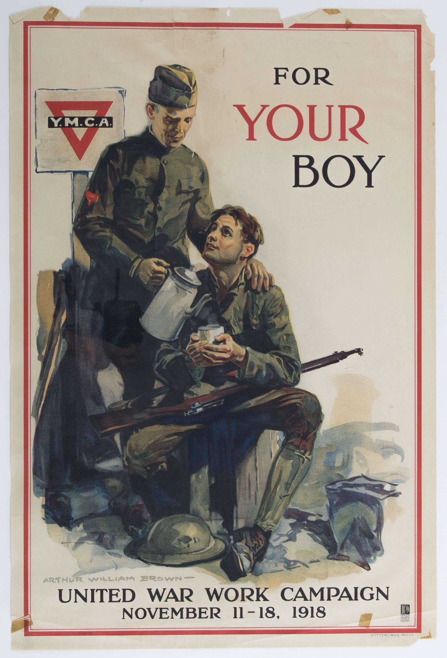"""WORLD WAR I """"YMCA FOR YOUR BOY"""" POSTER"""