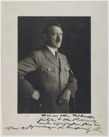 ADOLF HITLER GIFTS HIS SIGNED PORTRAIT TO GAULEITER