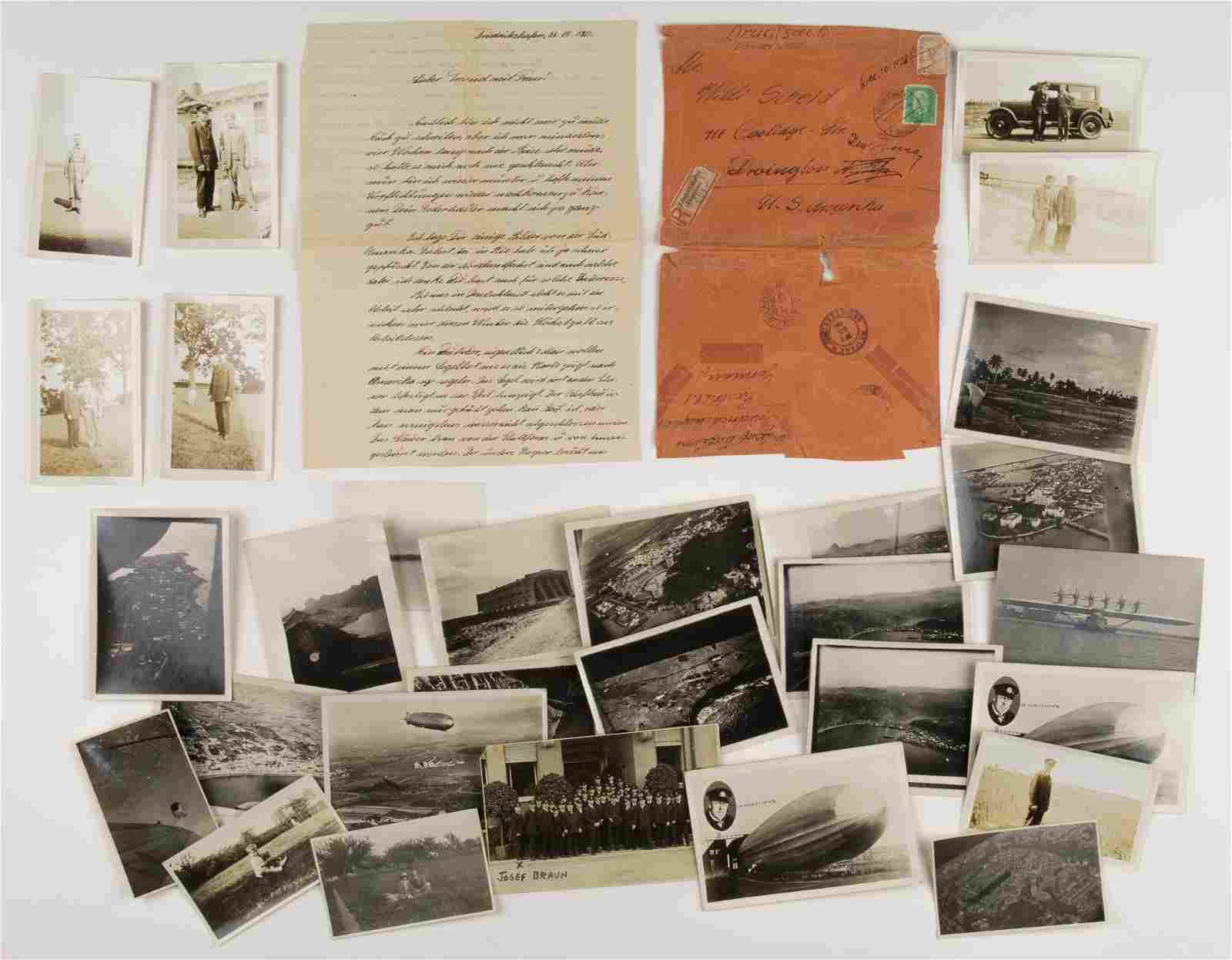 PHOTOGRAPH AND LETTER GROUPING FROM A GRAF ZEPPELIN