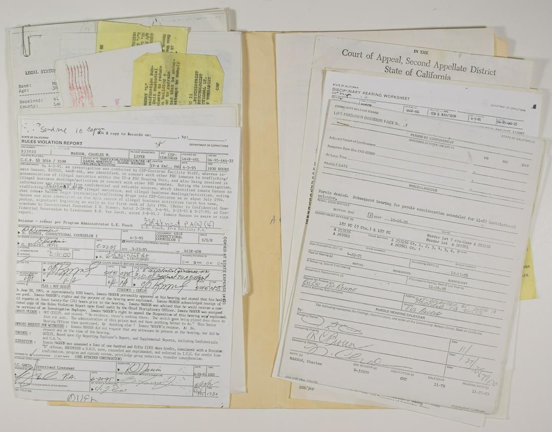 CHARLES MANSON'S PERSONAL COPY OF HIS CRIMINAL FILE