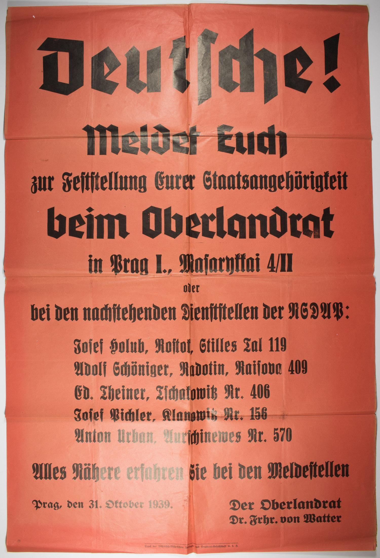 CZECH NSDAP MEMBERSHIP POSTER