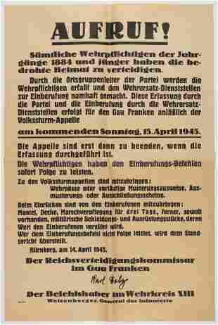 NUREMBERG CALL TO ARMS POSTER