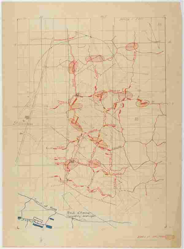 WORLD WAR I 'ZONES OF SHELTERS' MAP