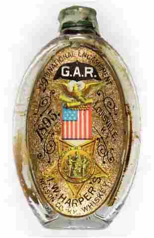 G.A.R. SOUVENIR WHISKY FLASK, CA. 1895