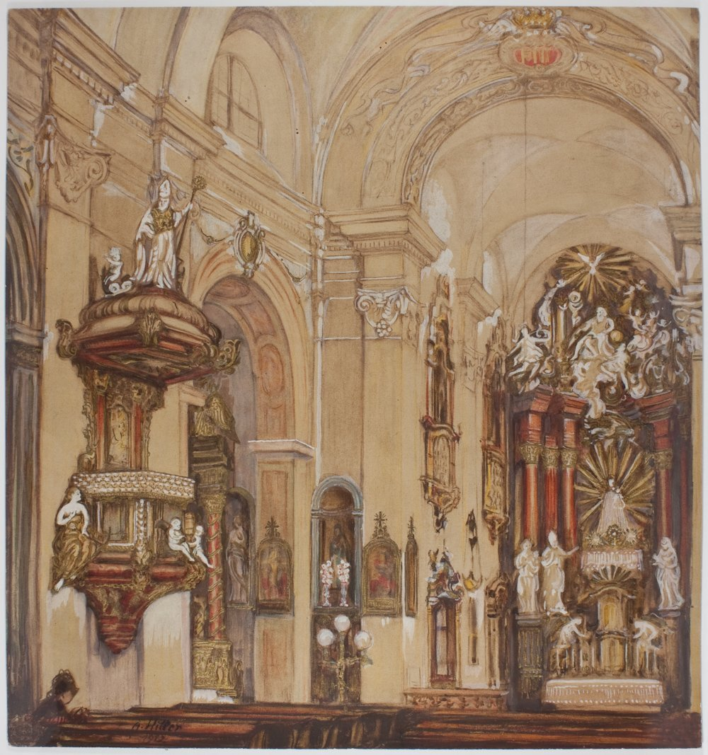 1: ADOLF HITLER CHURCH INTERIOR WATERCOLOR PAINTING