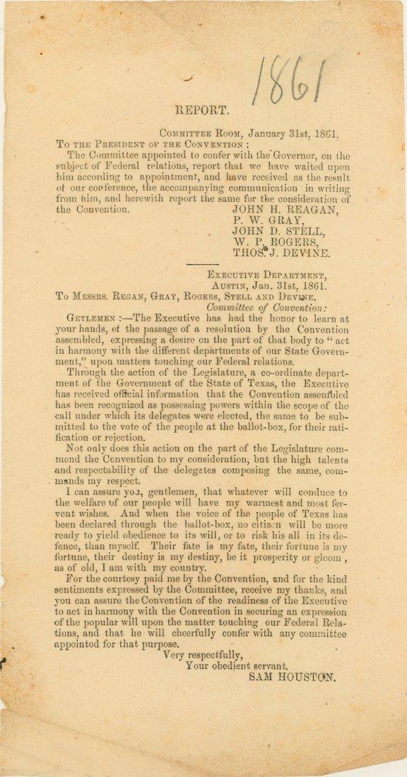 425: 1861 SAM HOUSTON SECESSION BROADSIDE