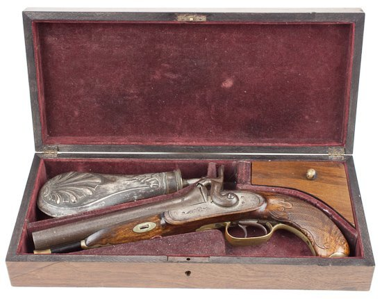 """BOXED """"HOWDAH"""" PERCUSSION PISTOL"""