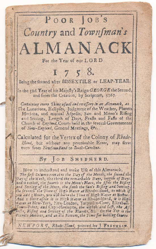 POOR JOB'S ALMANACK, PUBLISHED BY FRANKLIN'S NEPHEW