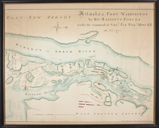 1861 HAND-COLORED MAP OF THE ATTACKS ON FORT WASHINGTON