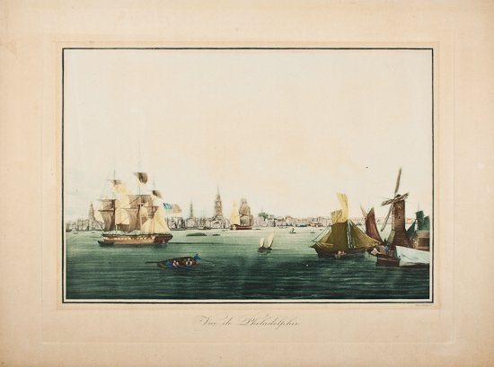 EARLY 1800S ENGRAVING OF PHILADELPHIA