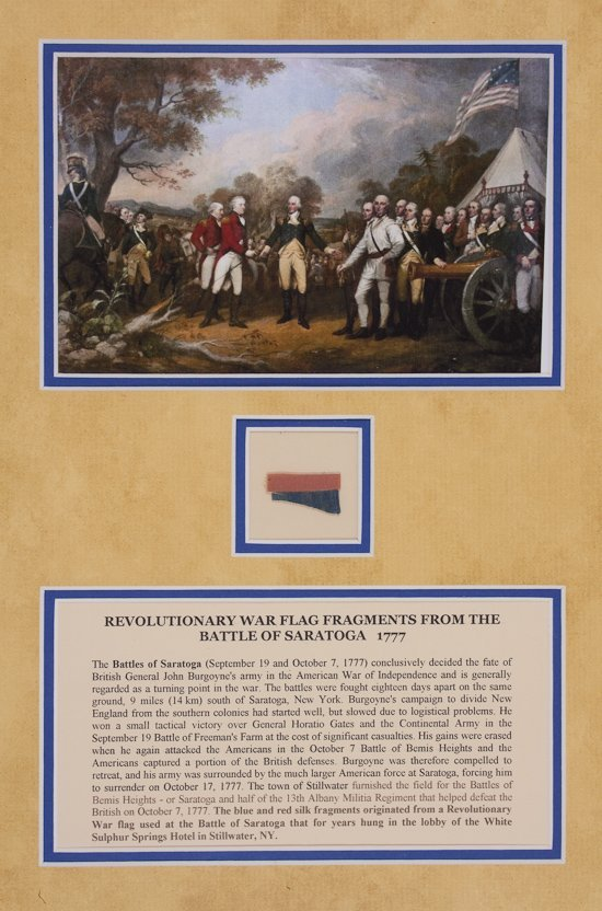 1777 BATTLE OF SARATOGA FLAG RELICS