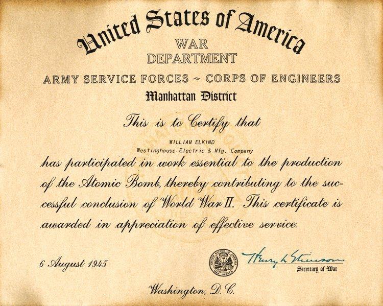 MANHATTAN PROJECT WAR SERVICE CERTIFICATE