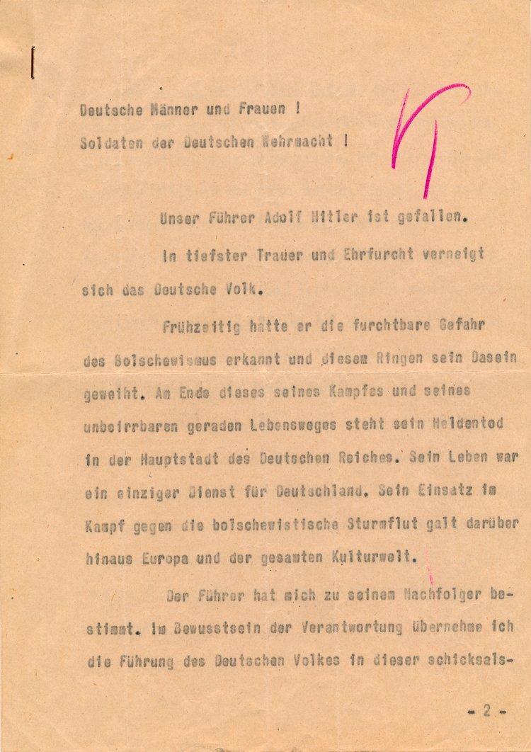 JOACHIM KEITEL'S COPY OF KARL DONITZ'S SPEECH
