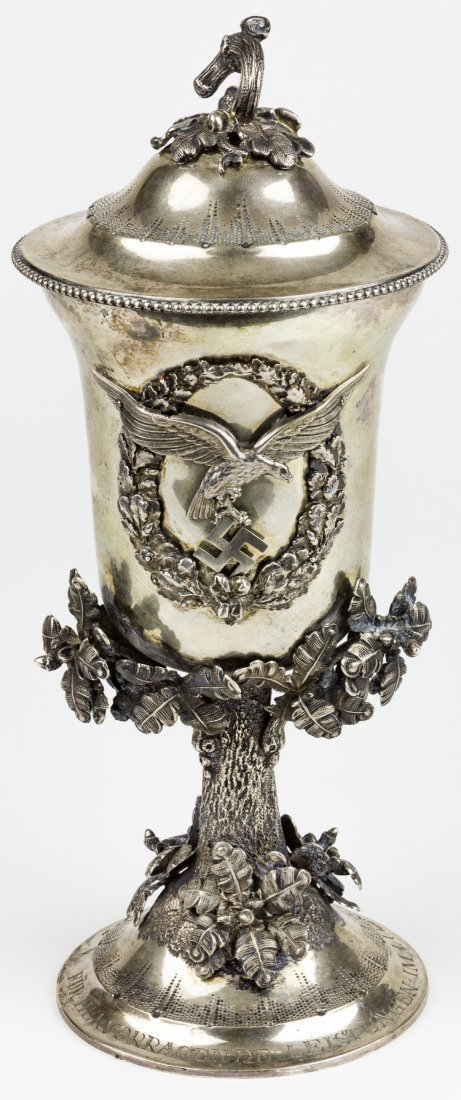 ENGRAVED ANTIQUE GOBLET AWARDED BY HERMANN GORING TO