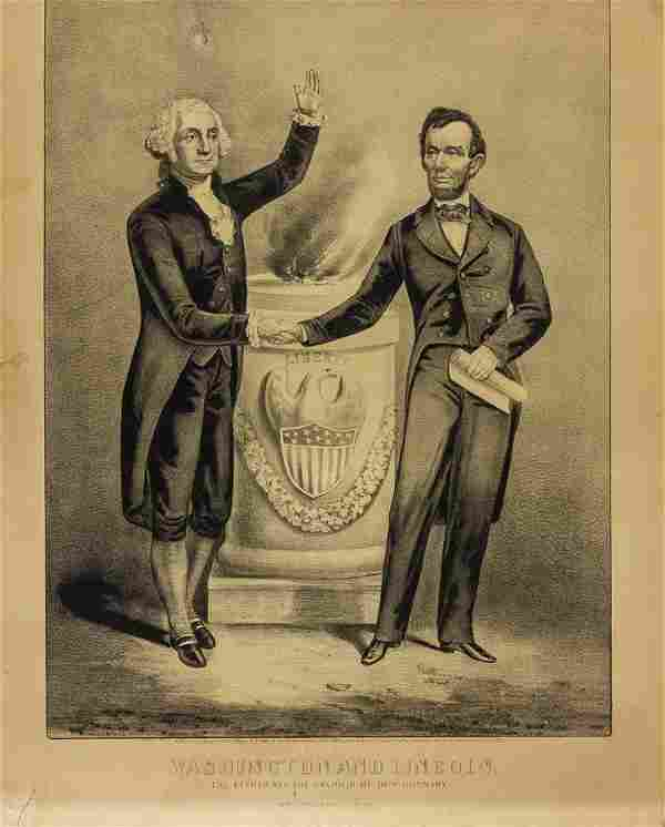 CURRIER AND IVES ENGRAVING OF WASHINGTON AND LINCOLN