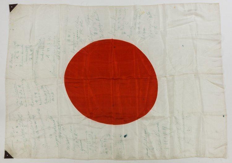 JAPANESE FLAG SIGNED BY 26 TOKYO WAR CRIMES DEFENDANTS