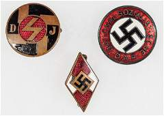 HITLER YOUTH AND NSDAP MEMBERSHIP PINS