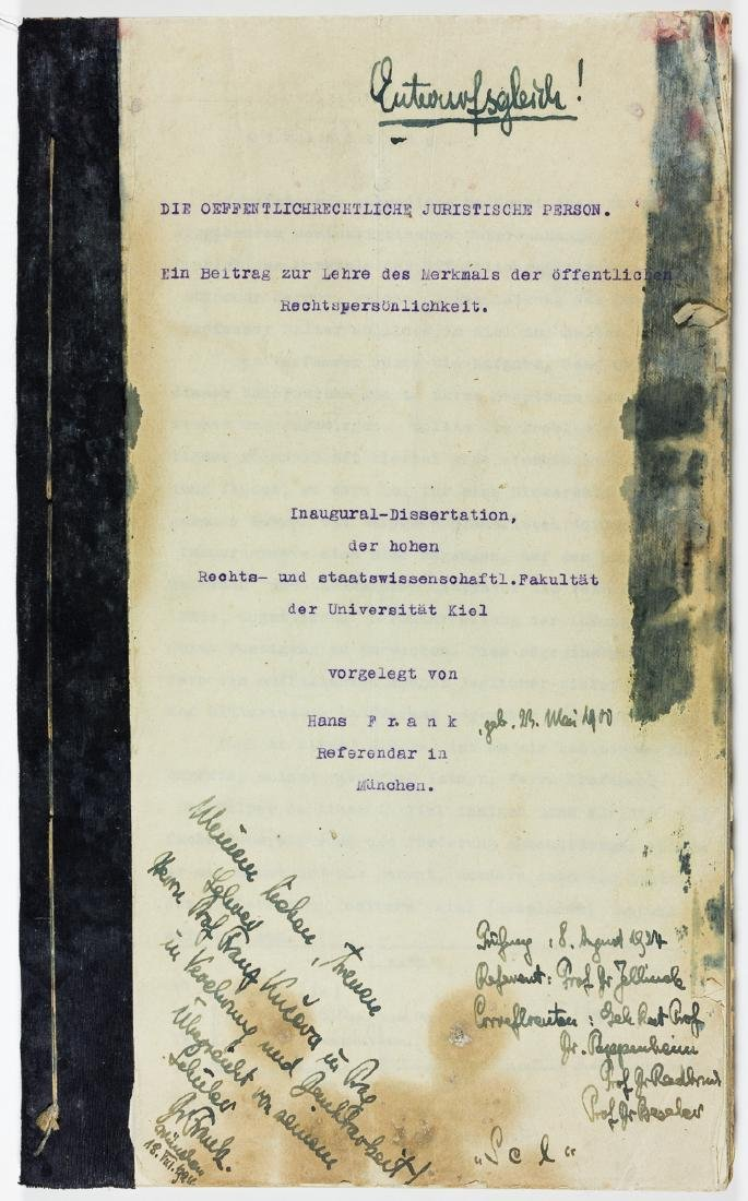 HANS FRANK'S LEGAL DISSERTATION AND ADMITTANCE TO THE