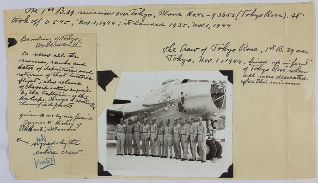 SIGNED PHOTO FROM THE FIRST B-29 MISSION OVER TOKYO