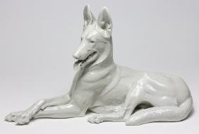 ADOLF HITLER'S ALLACH PORCELAIN ALSATIAN, TAKEN FROM