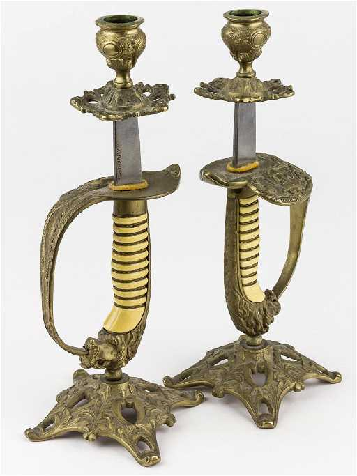 7300428423a SWORD HANDLE CANDLE STICKS