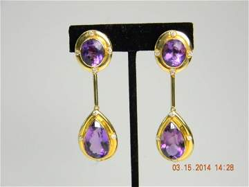 47ct  Amethyst & Diamond 14k Gold Drop Earrings