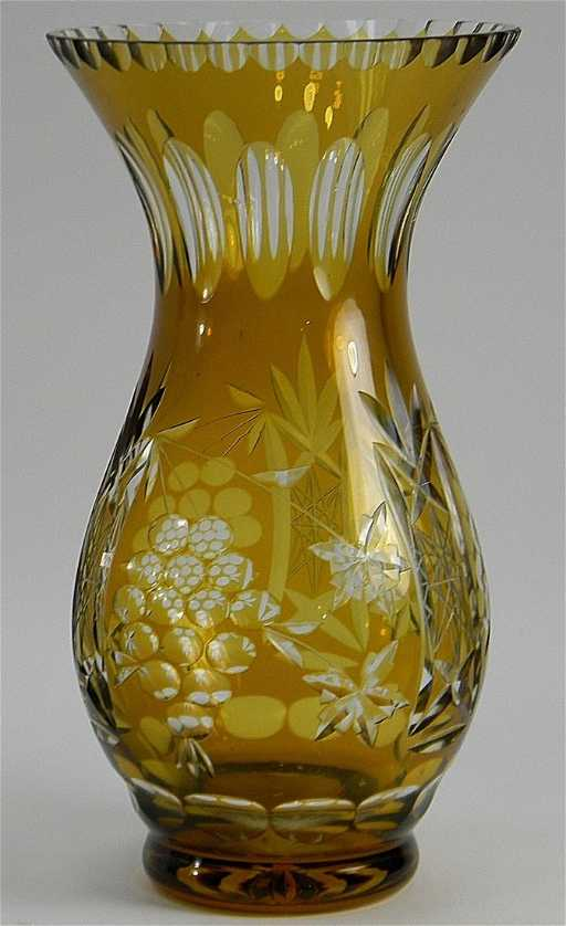 Bohemian Amber Cut To Clear Crystal Vase