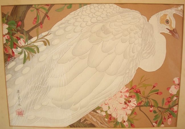 Asian Silkscreen or Woodblock of White Peacock Signed