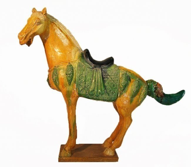 Large Chinese Tang Style Sancai Pottery Horse Figure