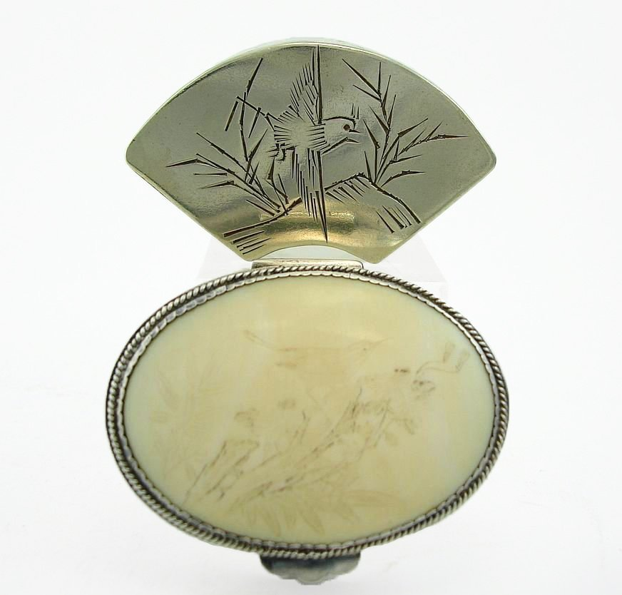 Two Chinese Silver Boxes Signed Bird Decoration