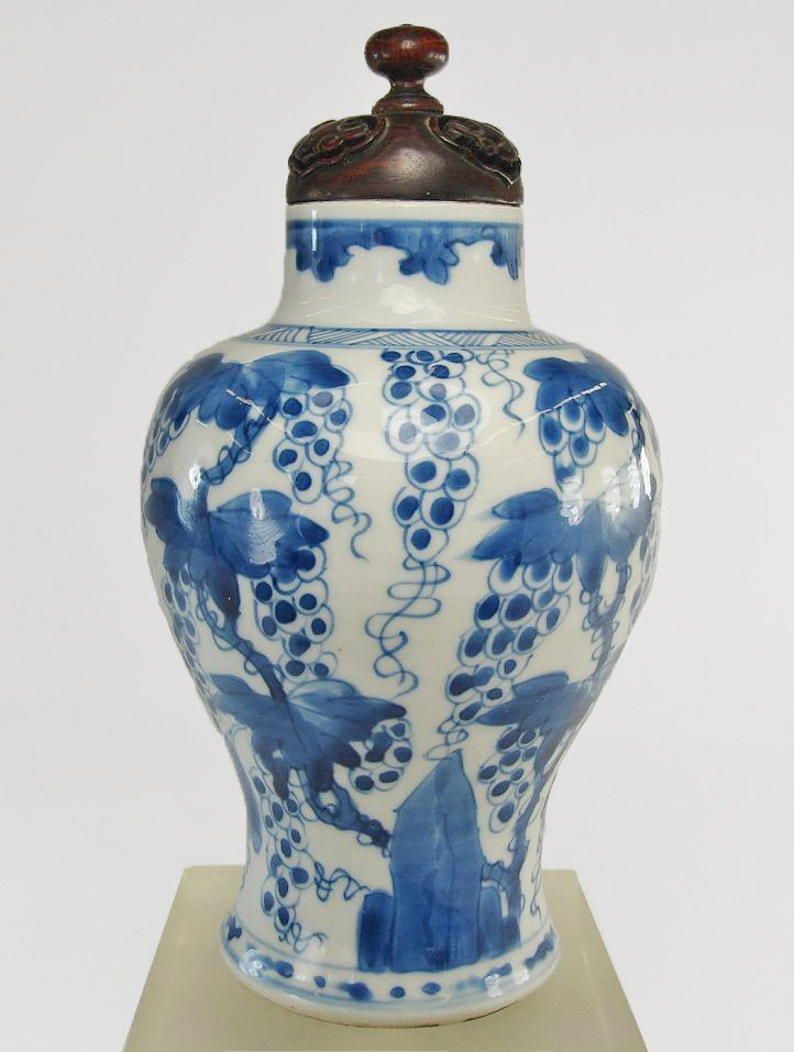 Chinese Blue and White Baluster Vase Grape Motif