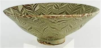 Asian Style Footed Pottery Bowl Chinese Shape