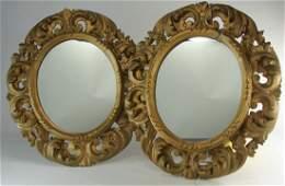 1850s Pair Gilt Carved Florentine Mirrors