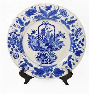 Chinese Blue and White Plate Flowers in a Basket Kangxi
