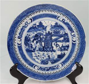 Chinese Export Nanking Blue and White Painted Plate