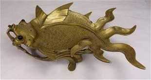Large Chinese Brass Koi Carp or Goldfish Tray