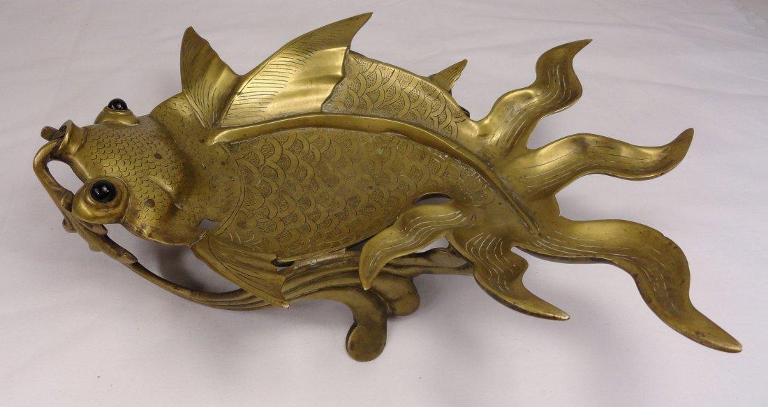 Large Chinese BrassKoi Carp or Goldfish Tray