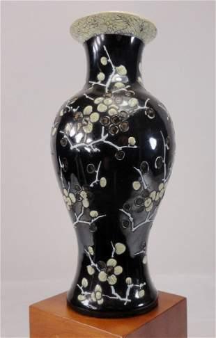 Famille Noire Kangxi Style Vase with Prunus Decoration