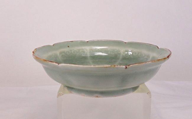 Chinese Celadon Glazed Lobed Bowl with Underglaze Blue