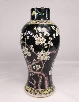 Famille Noire Kangxi Style Baluster Vase Prunus