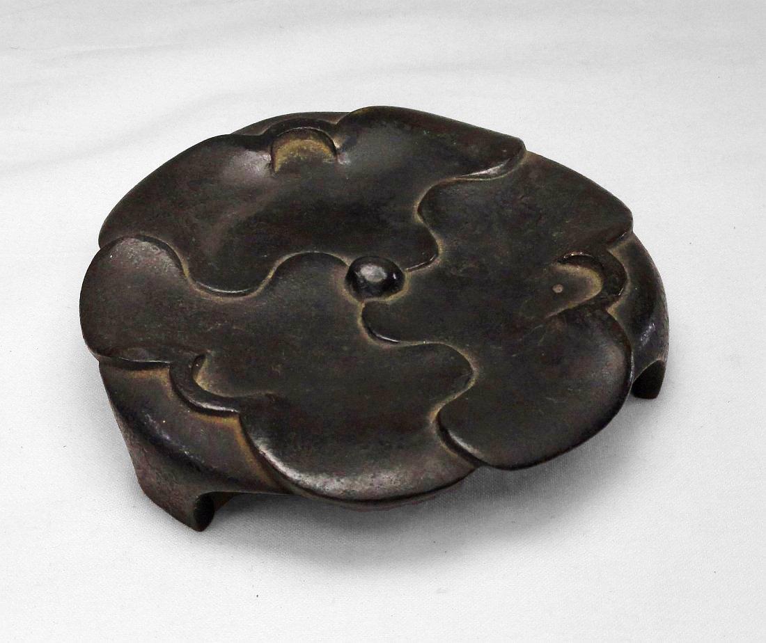 Chinese Bronze Floral Design Incense Burner Base Stand