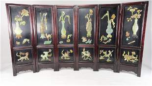 6 Panel Stone Table Screen Scholars Items Vases
