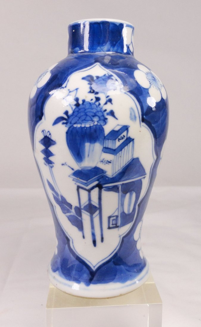 Kangxi Style Blue and White Meiping Baluster Vase
