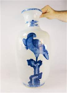 Chinese Underglaze Blue Rouleau Vase Hawk Qianlong