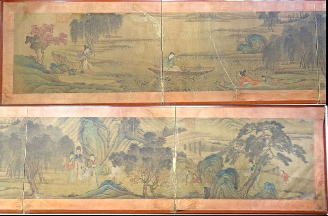 Important Chinese Hand Scroll Mounted as Folding Screen