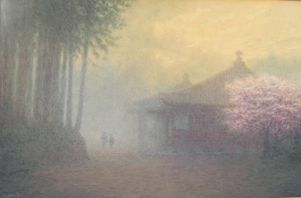 Japanese Watercolor Foggy Scene Cherry Blossoms M Kano